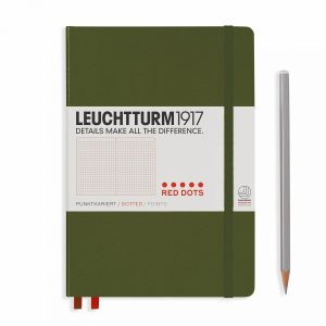 Leuchtturm1917 Notebook Medium (A5), Hardcover, RED DOTS - Army