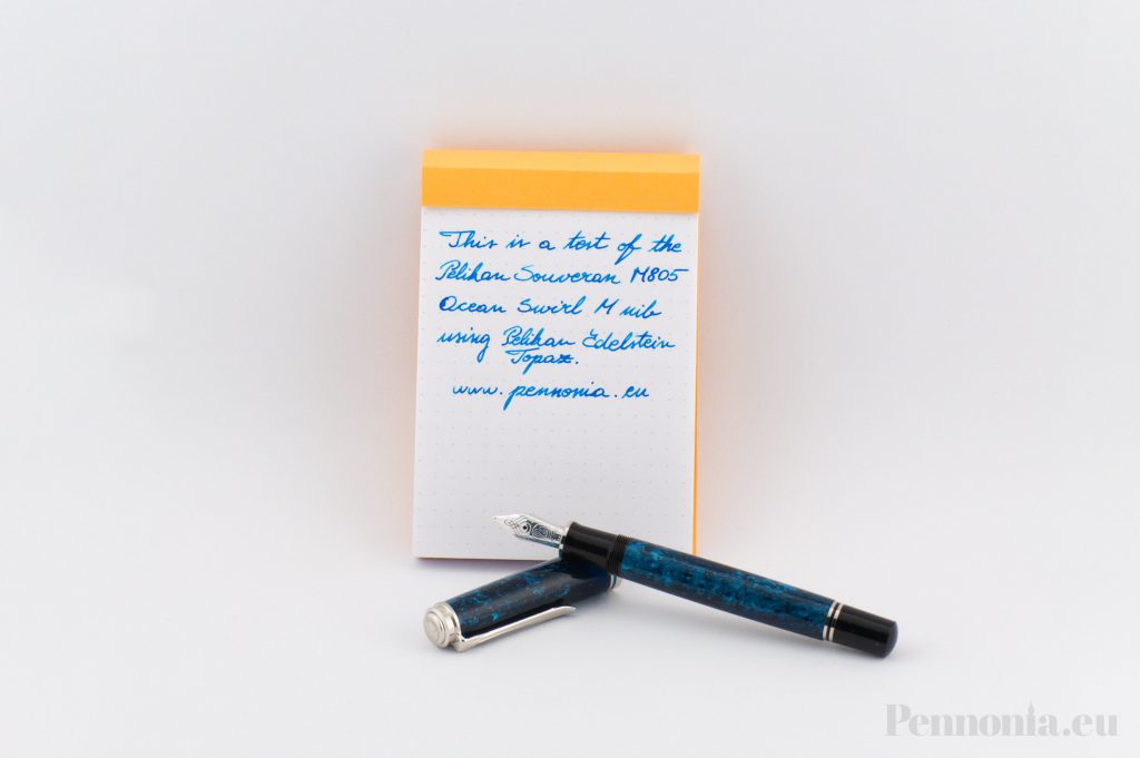 Pelikan Ocean Swirl Pennonia writing sample edelstein topaz on a rhodia pad