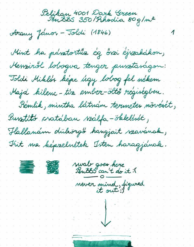 Pelikan 4001 Dark Green - Writing sample 001