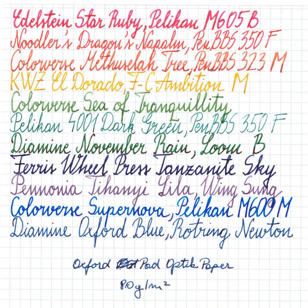 Oxford Optik Paper 80 gsm Writing Sample